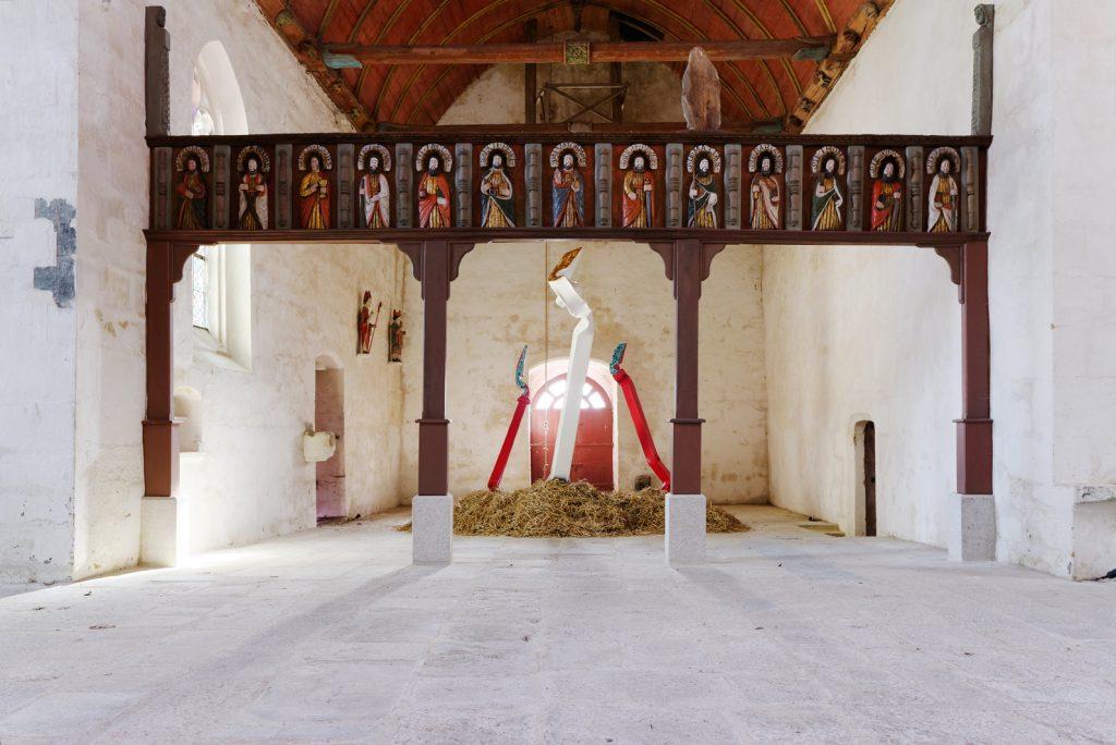 """Bernard Pagès, """"Les Trois Épis / The Three Spikes"""", 2017, chapelle Saint Adrien, Saint-Barthélémy, L'art dans les chapelles 2017"""