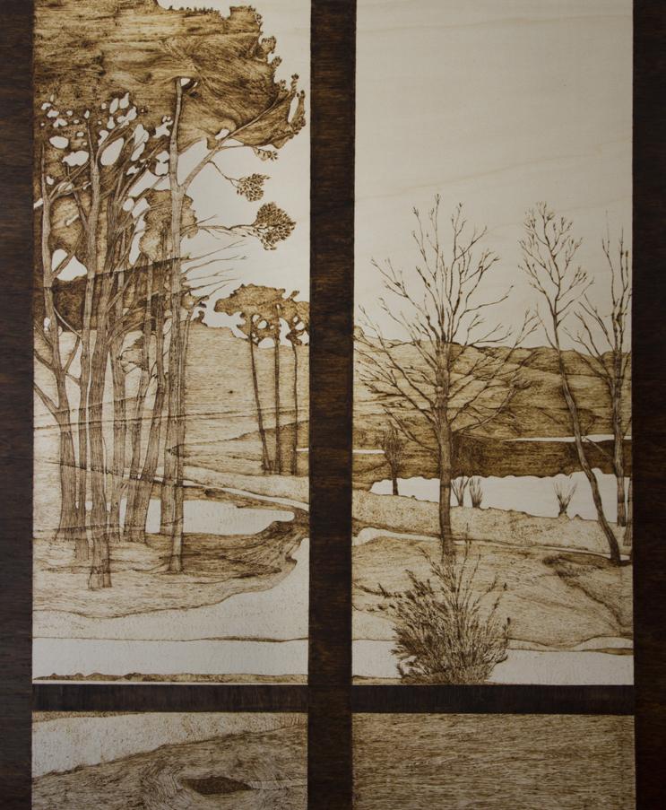 Julie Meyer, Panorama, 2018. Dessin pyrogravé sur contre-plaqué en peuplier 100 x 122 cm.