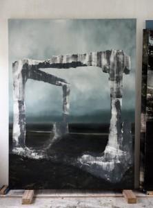 Eva Nielsen, Thalle II, 2015, 200 x 150 cm, huile, acrylique et sérigraphie sur toile. © Eva Nielsen. Courtesy the artist and Jousse Entreprise, Paris