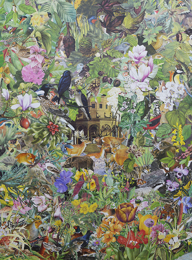 Quentin Montagne, Raphael Urbinas, 2019. Illustrations découpées et collées sur papier, 80 x 60 cm.