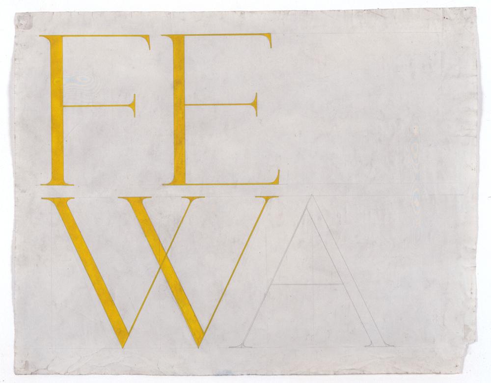 Franz Erhard Walther, FEW (Fewa), de l'ensemble Wortbild, 1958. Collection Frac Bretagne © Franz Erhard Walther